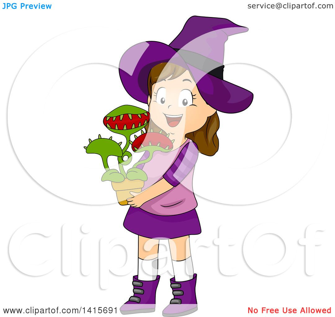 1080x1024 Clipart Of A Brunette White Witch Girl Holding A Venus Fly Trap