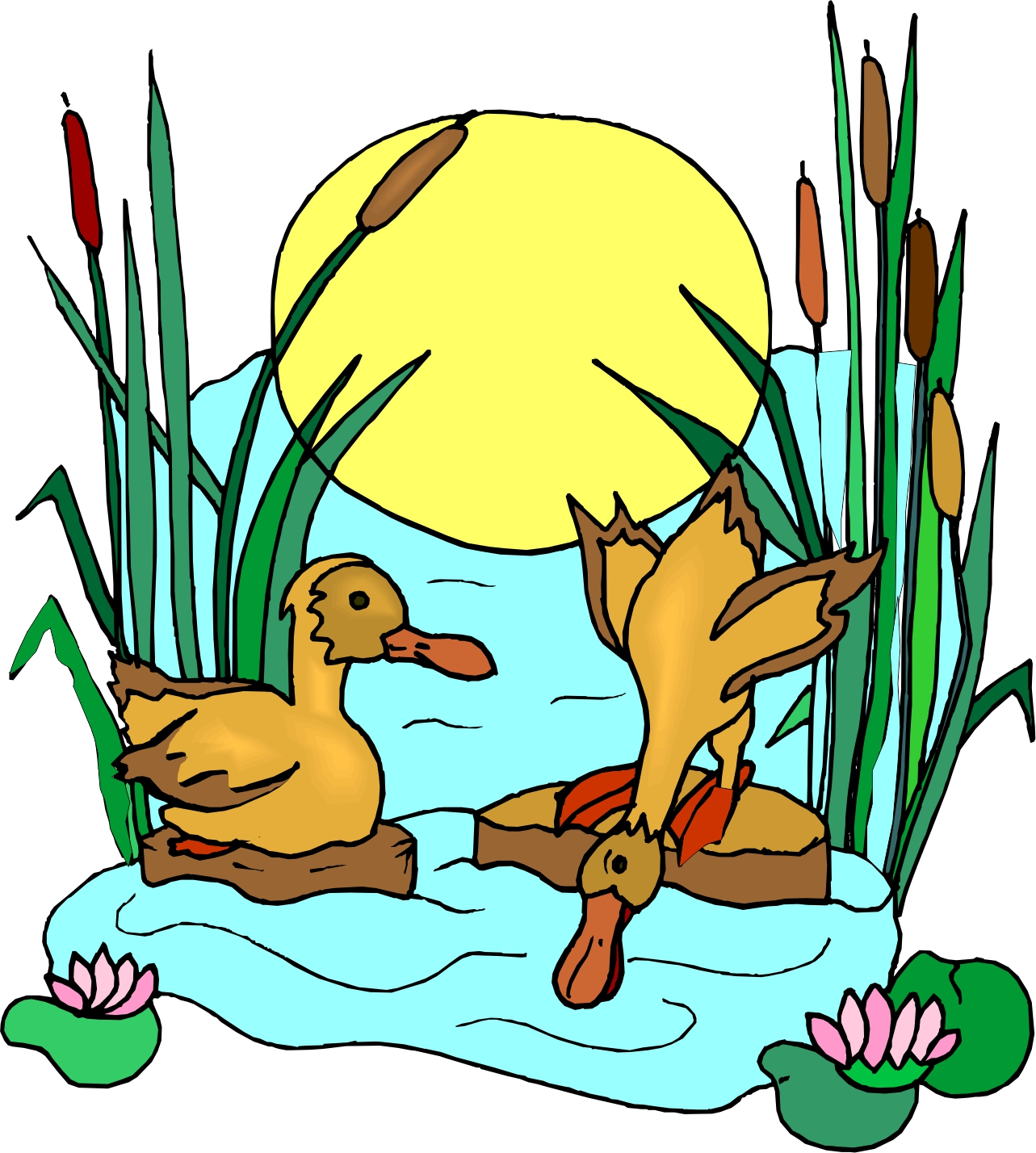 1283x1428 Cartoon Pond With Ducks Images Pictures Becuo Clip Art Library