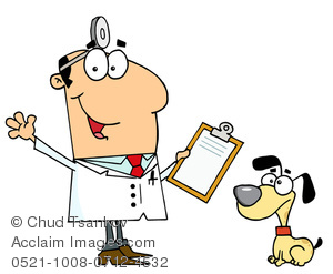300x247 Clipart Image Of Dog Sitting Next To Smiling Vet Holding