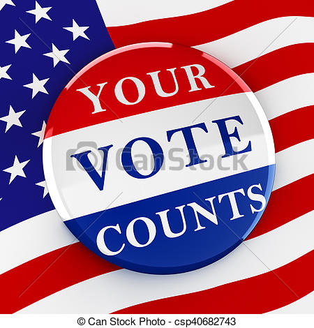450x470 Vote Button On American Flag Background