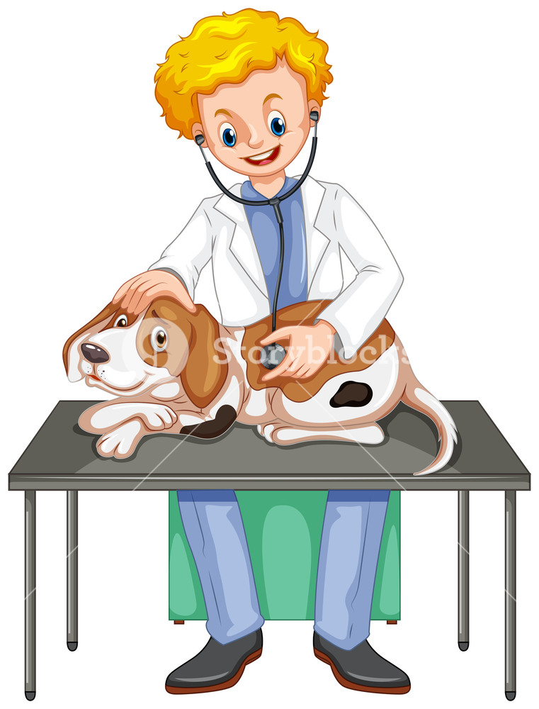 761x1000 Vet Checking Up Dog With Stethoscope Illustration Royalty Free