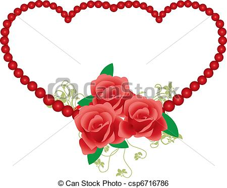 450x374 Victorian Frame Red Rose Around Heart Clip Art Vector