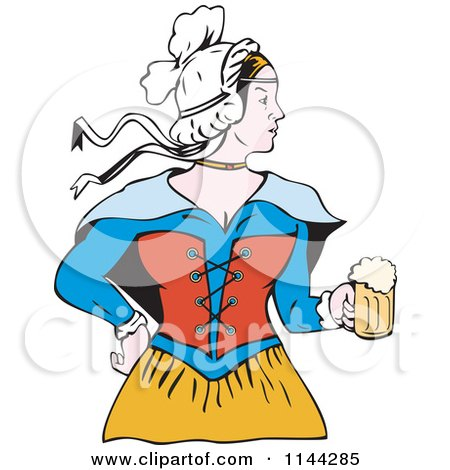 450x470 Clipart Of A Retro Victorian Beer Maiden