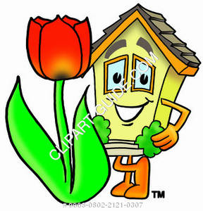 288x300 Cartoon House Character With Spring Tulip Clipart Picture