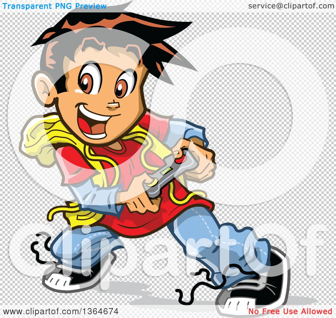 1080x1024 Clipart Of A Cartoon Excited Boy Playing Video Games