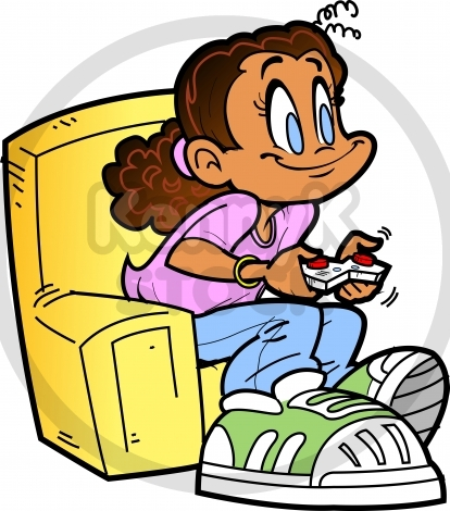 414x470 Girl Playing Game Clipart