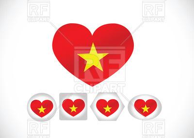 400x284 Flag Of Vietnam Heart Shaped Royalty Free Vector Clip Art Image