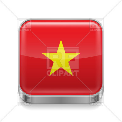 400x400 Flag Of Vietnam On Metal Square Icon Royalty Free Vector Clip Art