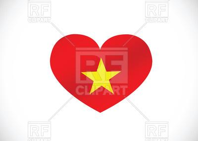 400x284 Heart Shaped Flag Of Vietnam Royalty Free Vector Clip Art Image