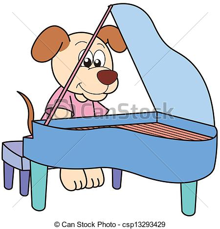 450x470 Dog Playing Piano Clipart Free