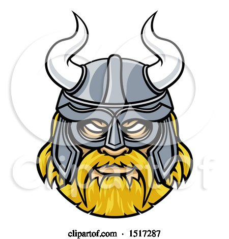 450x470 Clipart Of A Tough Blond Male Viking Warrior Face Wearing A Horned
