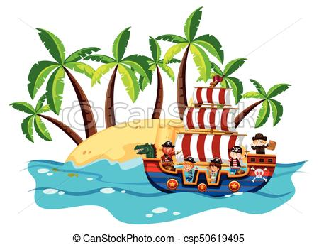 450x345 Children And Pirate On Viking Ship Illustration Eps Vectors