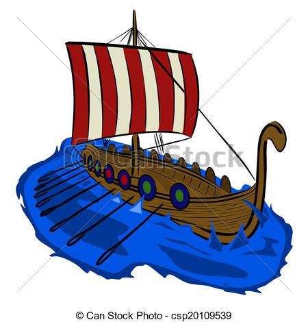 450x470 Viking Ship. Vector Illustration Viking Boat Sketch On A White