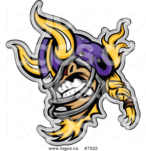 600x620 Royalty Free Clip Art Vector Logo Of An Aggressive Viking Football