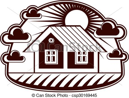 450x343 House Vector Detailed Illustration, Village Idea. Graphic Eps