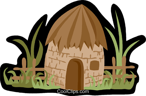 480x316 Village Hut, Grass Hut Royalty Free Vector Clip Art Illustration