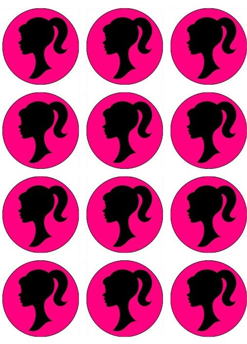508x707 Edible Vintage Barbie Sillouette Cupcake Toppers By Tastytoppers1