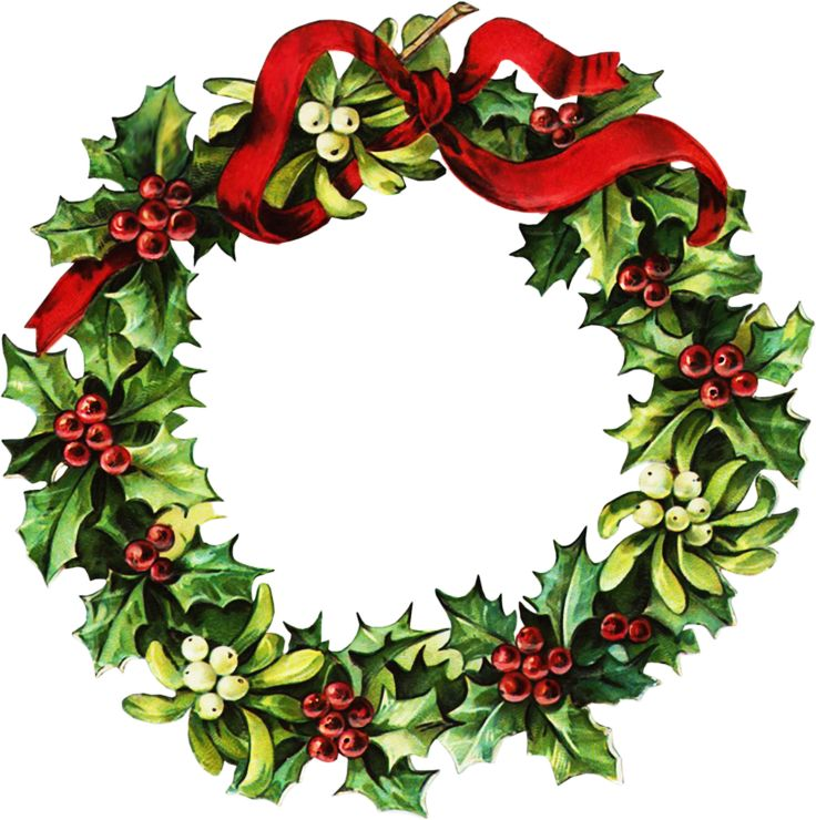 736x740 Collection Of Vintage Christmas Wreath Clip Art High Quality