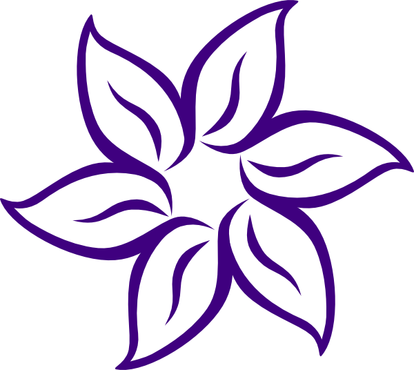 600x536 Cartoon Flowers Clip Art Purple Flower Outline Clip Art