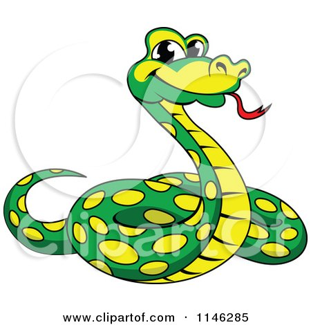 450x470 Clipart Of A Cartoon Happy Python Snake Playing An Electric Guitar