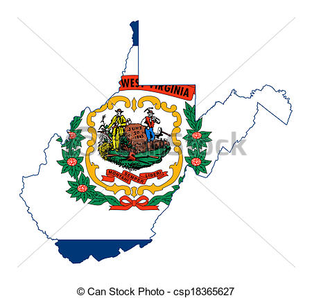 450x430 State Of West Virginia Flag Map Isolated On A White Clip Art