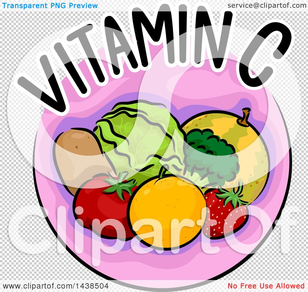 1080x1024 Clipart Of A Pink Icon With Vitamin C Text And Food