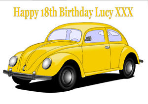 300x212 Personalised Yellow Vw Beetle Car Edible A4 Icing Sheet