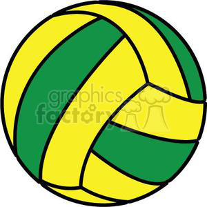 300x300 Royalty Free Volleyball Green Yellow 381157 Vector Clip Art Image