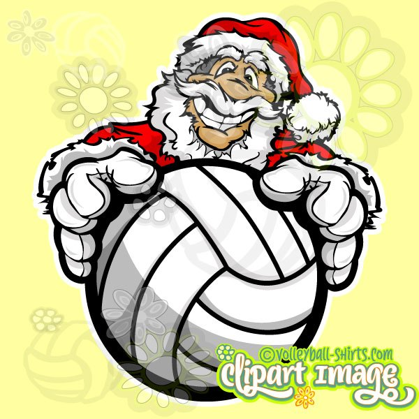600x600 Santa Volleyball Clipart