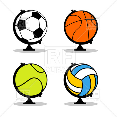 400x400 Set Of Sports Globe Basketball, Football, Tennis And Volleyball
