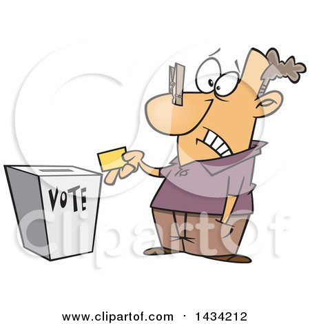 450x470 Clipart Cartoon Female Voter With A Nose Plug Putting Her Ballot