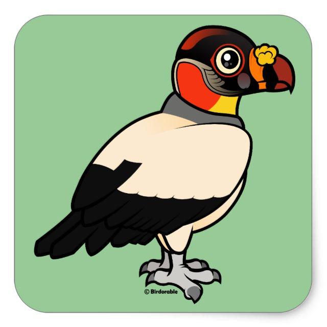 640x640 Birdorable King Vulture Square Sticker Cute Bird Gifts