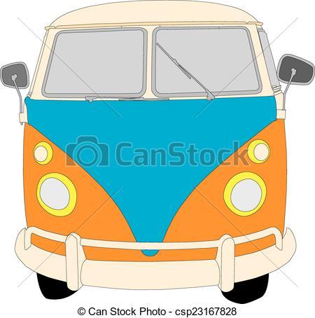 450x454 Beetle Camper Van. Camper Van Front View Vector Illustration