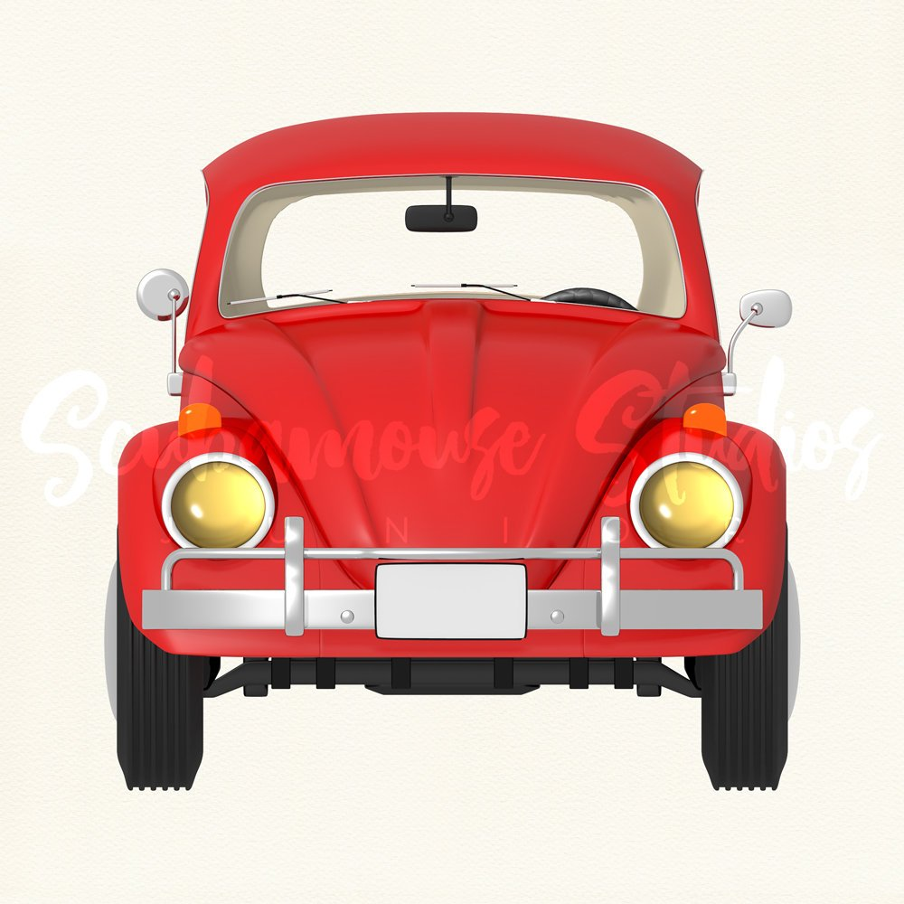 1000x1000 Red Car Clipart Single. Red Car Clip Art. Red Retro Car Love Bug