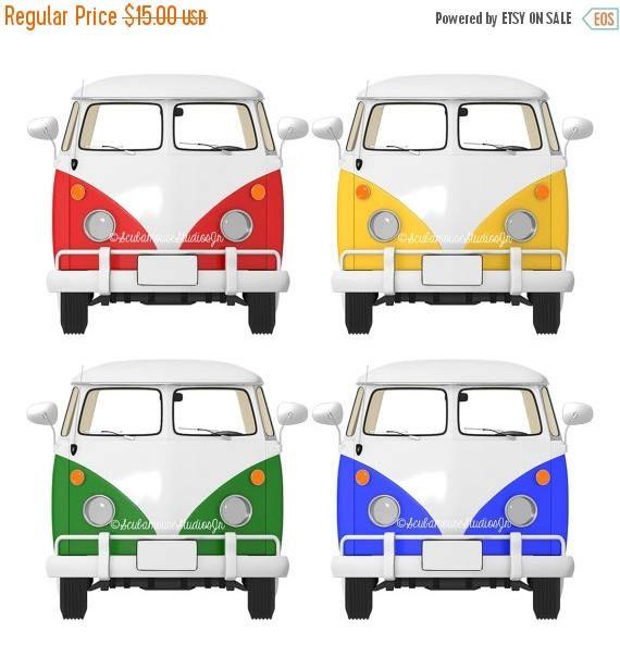 570x604 Vw Bus Clipart. Transportation Clip Art. Retro Vw Van Bus. Digital