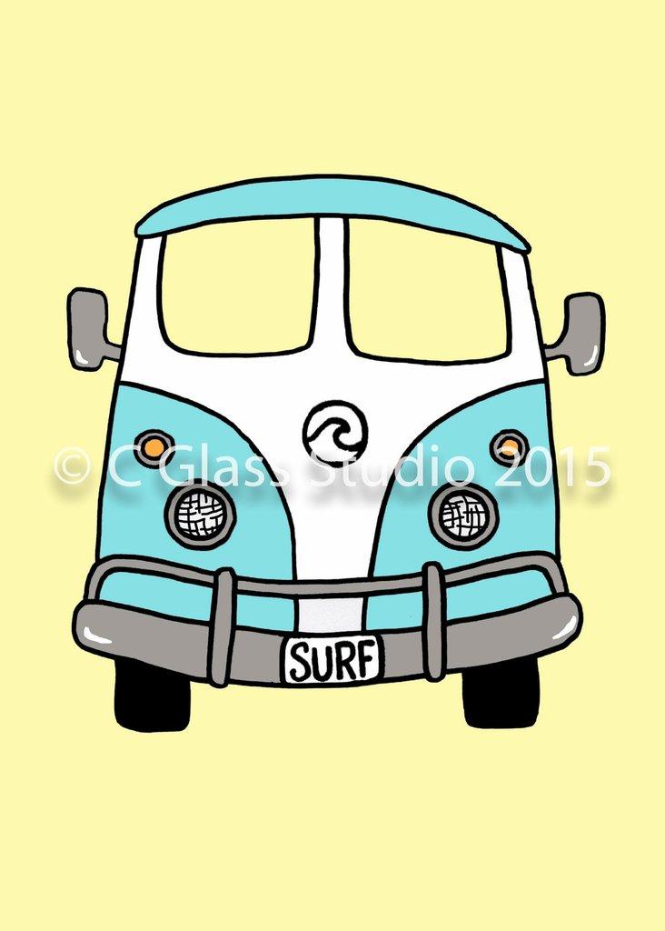 732x1024 Vw Surf Bus (Blue) The C Glass Studio