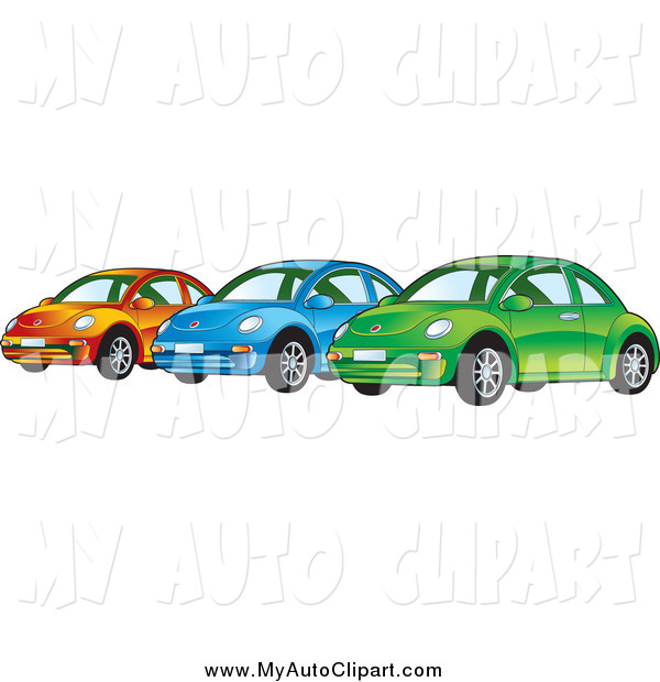 600x620 Clip Art Of Orange Blue And Green Vw Bug Cars By Lal Perera