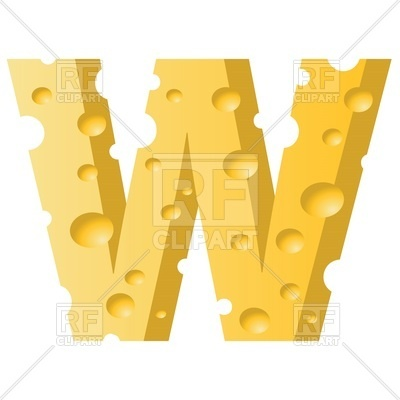 400x400 Font Made Of Cheese, Letter W Royalty Free Vector Clip Art Image