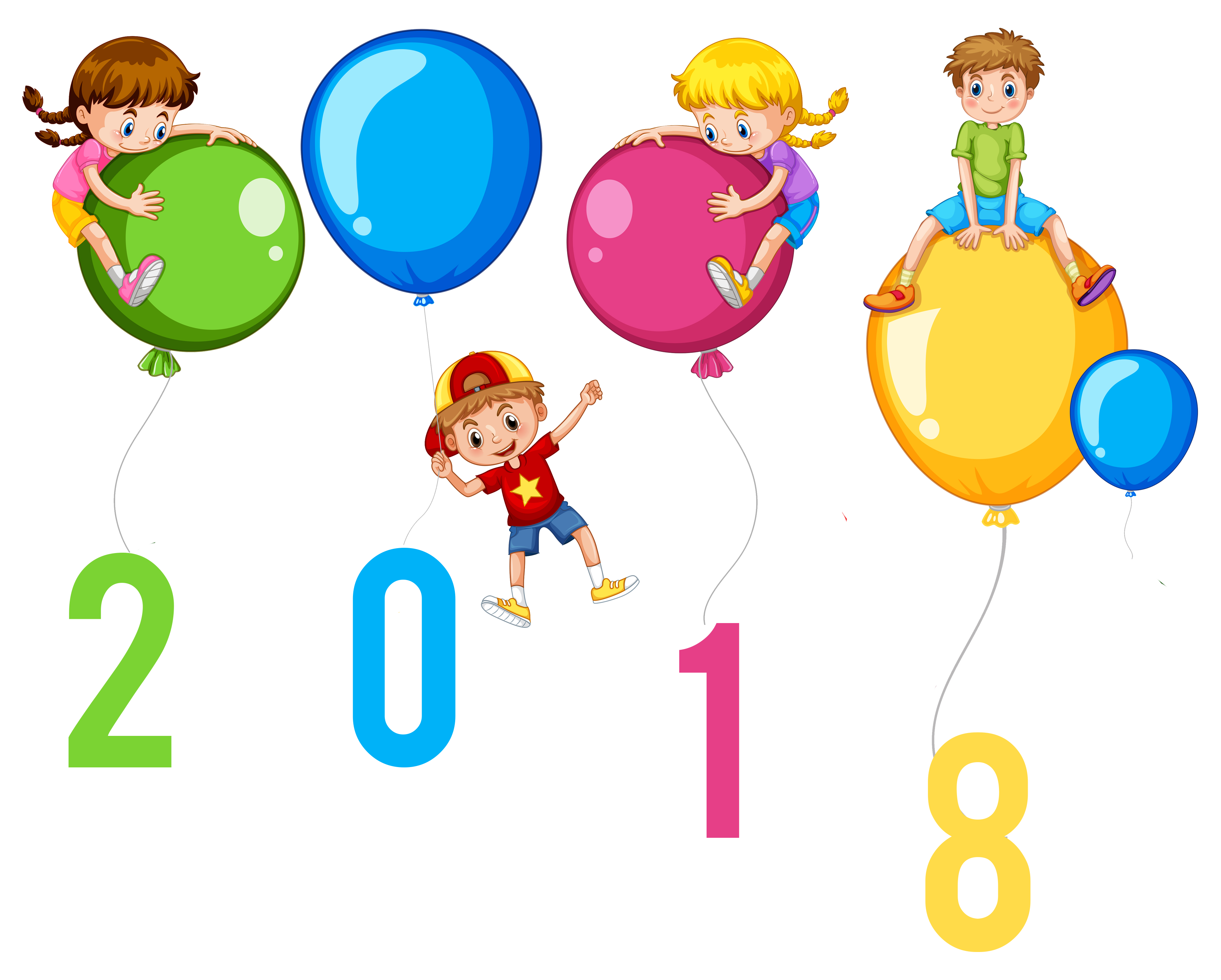 3487x2798 Happy New Year 2018 Kids With Balloons Clip Art Image