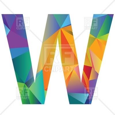 400x400 Motley Polygonal Font, Letter W Royalty Free Vector Clip Art Image