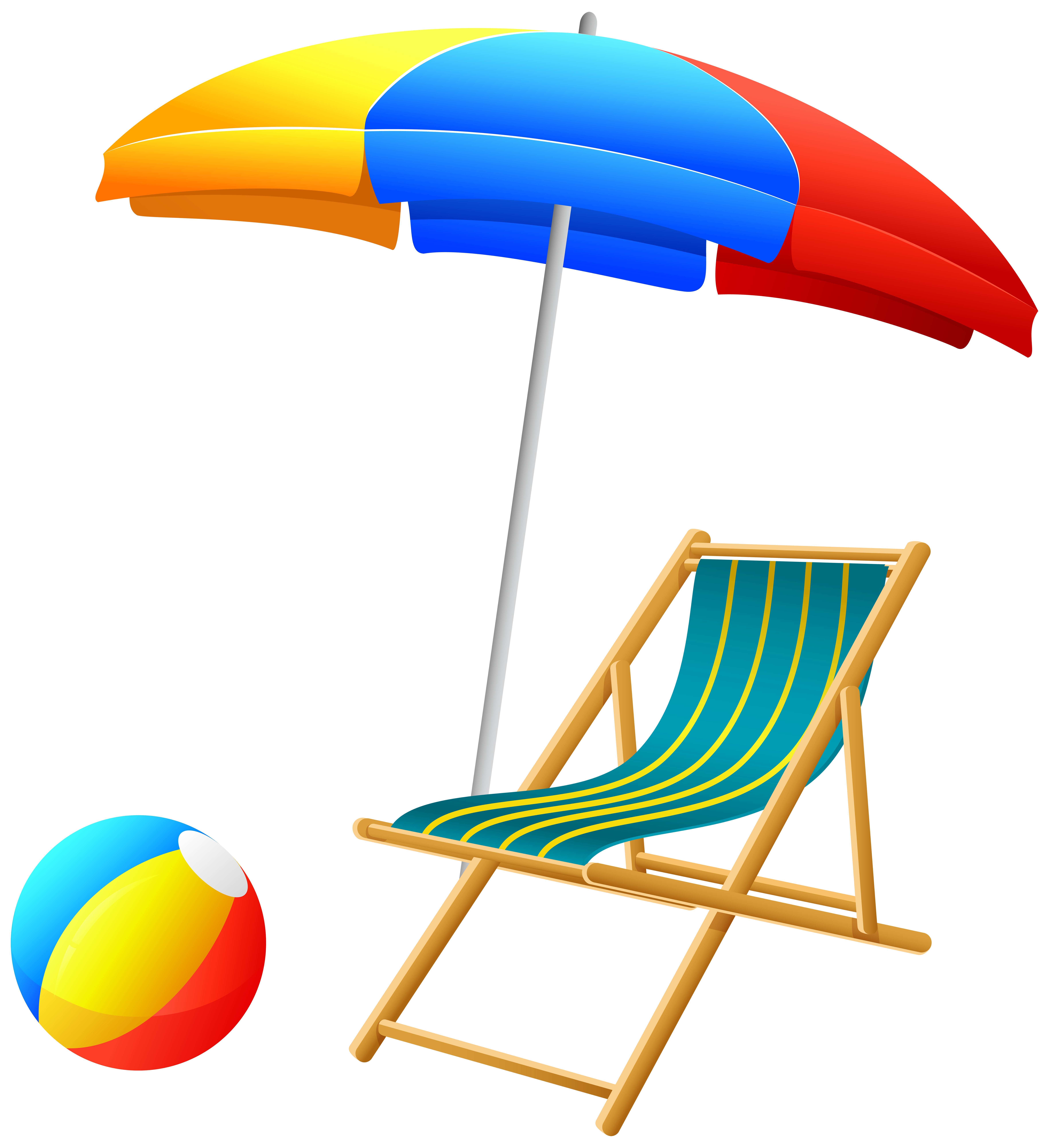 7313x8000 Beach Umbrella With Chair And Ball Png Clip Art