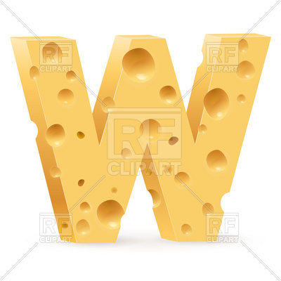 400x400 Cheese Font W Letter Royalty Free Vector Clip Art Image