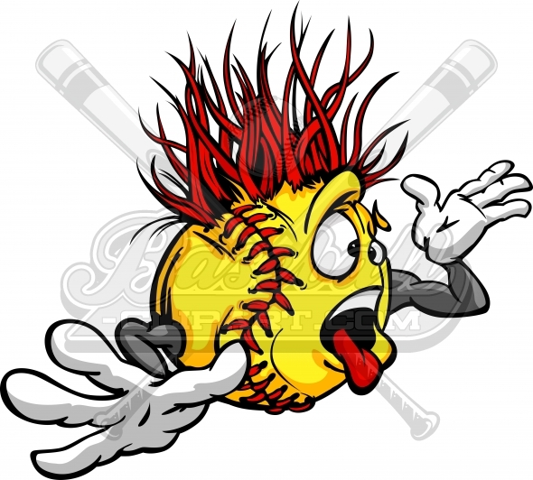 590x532 Crazy Softball Clipart. Crazy Cartoon Softball Madness Image.