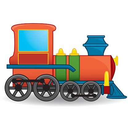 416x416 Outlined Cartoon Train Toy Premium Clipart