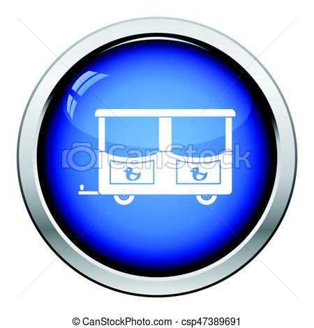 450x470 Wagon Of Children Train Icon. Glossy Button Design. Vector Eps