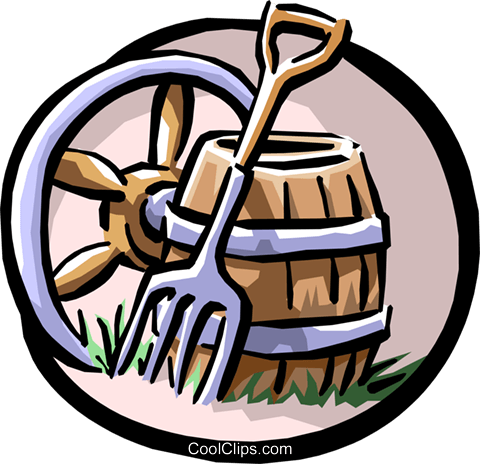 480x464 Wagon Wheel, Pitchfork And Barrel Royalty Free Vector Clip Art