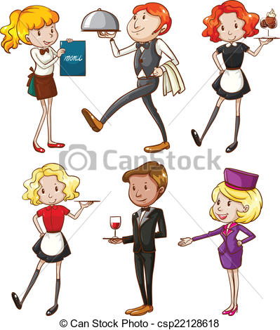 399x470 Illustration Of The Waiters And Waitresses On A White Vector