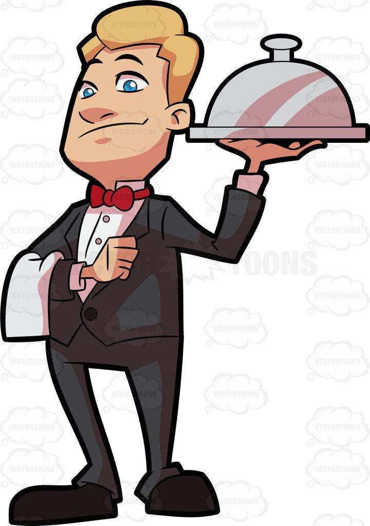 720x1024 A Waiter Carrying A Main Dish Cartoon Clipart Vector Toons