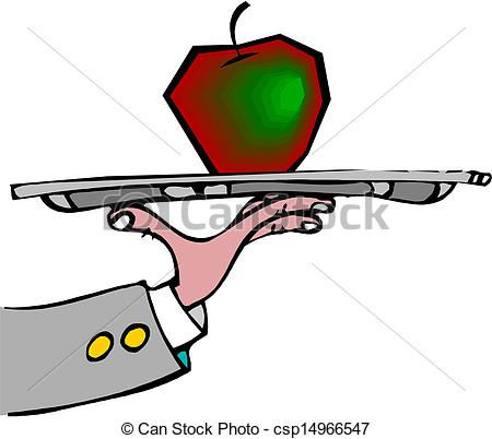 450x402 Waiter Hold The Tray With Apple Eps Vector