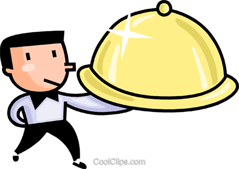 480x341 Waiter Serving Food Royalty Free Vector Clip Art Illustration